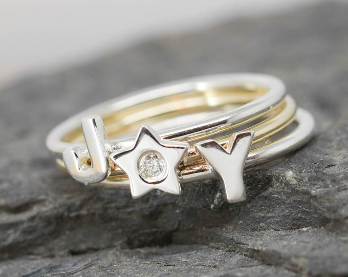 Star ring, sterling silver ring, Star Jewelry, Diamond Ring