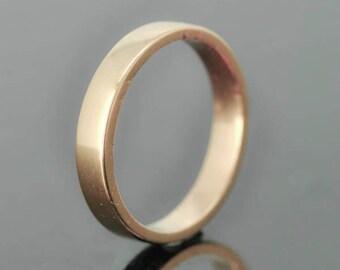 14K Rose Gold Ring, 3mm x 1mm, Wedding Band, Wedding Ring, Rose Gold Band, Flat Band, Square Band, Size up to 9