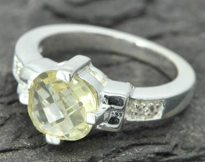 lemon quartz ring, lemon citrine ring, sterling silver ring, yellow rose cut, gemstone ring, one of a kind, quartz, yellow