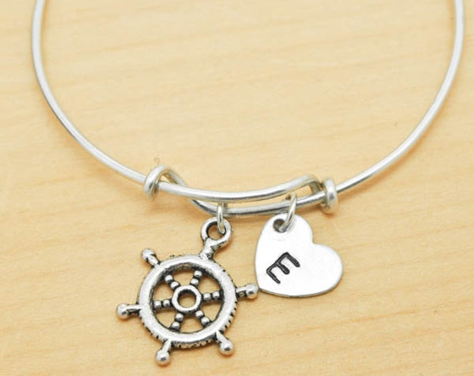 Anchor Wheel Bangle, Sterling Silver Bangle, Anchor Wheel Bracelet, Bridesmaid Gift, Personalized Bracelet, Charm Bangle, Initial Bracelet