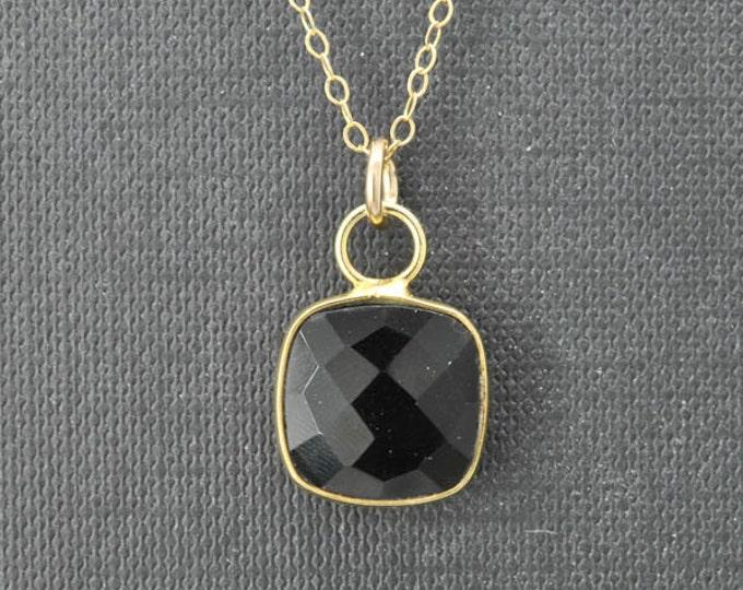 Black Onyx Necklace, 14k Gold Filled Chain, Bezel set Necklace, Gemstone Necklace, Black Onyx pendant