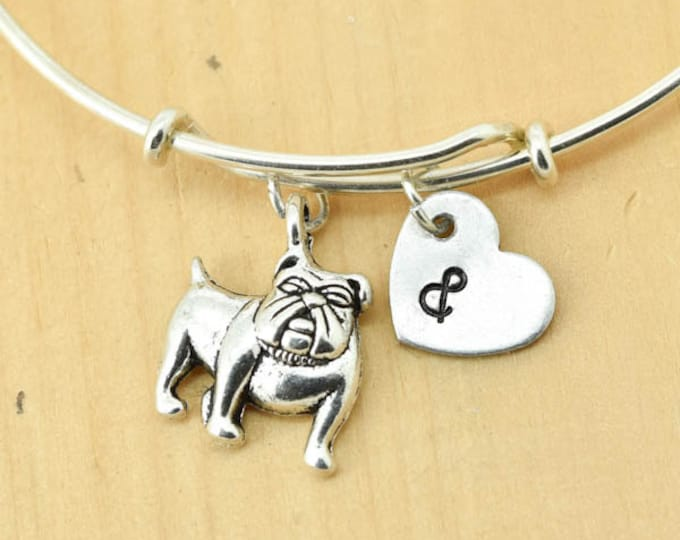 Dog Bangle, Sterling Silver Bangle, Dog Bracelet, Bridesmaid Gift, Personalized Bracelet, Charm Bangle, Initial Bracelet, Monogram
