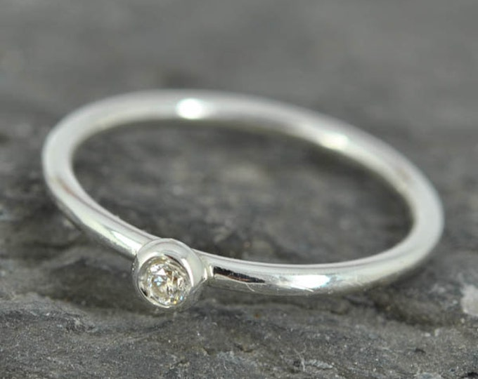 Diamond Ring, Stacking Ring, Sterling Silver Ring, Promise Ring, Initial Ring