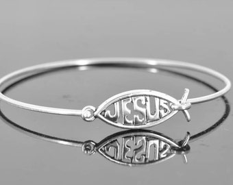 Jesus Bangle, Sterling Silver Bangle, Jesus Jewelry, Jesus Bracelet, Sterling Silver Bracelet, Christian Jewelry, Catholic Jewelry