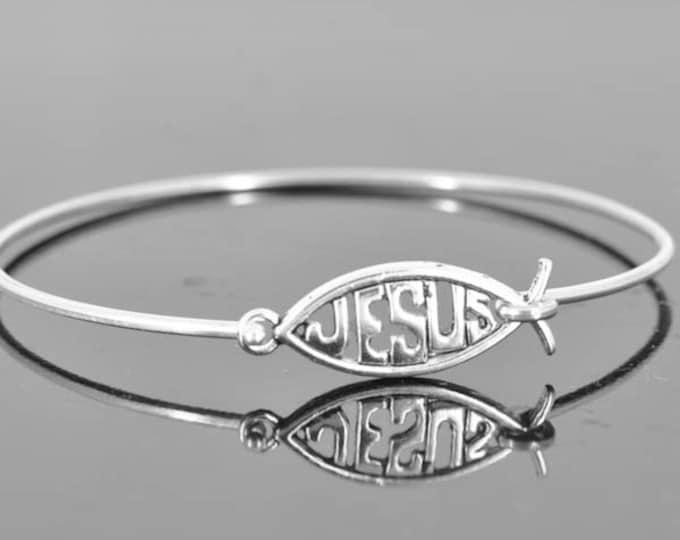 Jesus Bangle, Sterling Silver Bangle, Jesus Jewelry, Jesus Bracelet, Sterling Silver Bracelet, Christian Jewelry, Catholic Jewelry