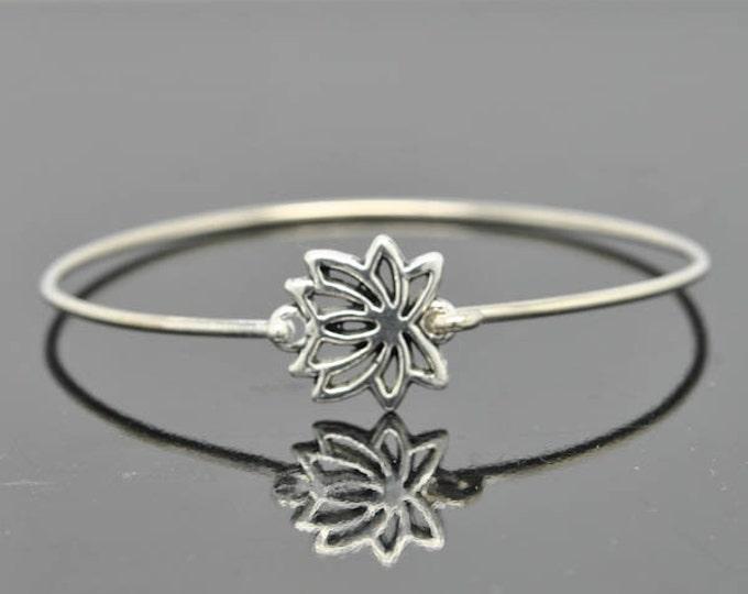 Lotus Bangle, Sterling Silver Bangle, Lotus Bracelet, Stackable Bangle, Charm Bangle, Bridesmaid Bangle, Bridesmaid jewelry, Bridal Bracelet