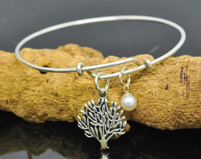 Tree Of Life Bangle, Sterling Silver Bangle, Tree Of Life Bangle, Personalized Bracelet, Charm Bangle, Bridesmaid Gift, Initial Bracelet