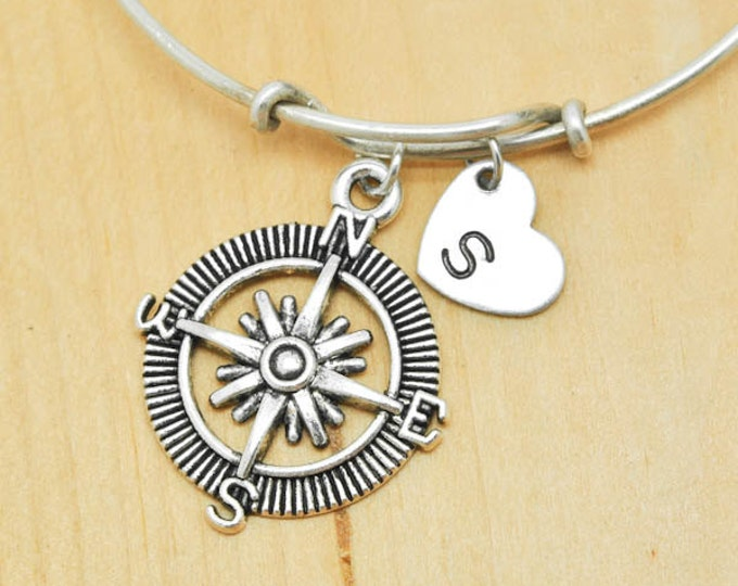 Compass Bangle, Sterling Silver Bangle, Adjustable Bangle, Bridesmaid gift, Initial Bangle, Personalized Bangle, Charm Bangle, Monogram