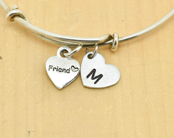 Friend Heart Bangle, Sterling Silver Bangle, Adjustable Bangle, Bridesmaid Gift, Initial Bangle, Personalized Bangle, Charm Bangle
