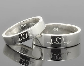 Wedding Band, Wedding Ring, Engagement Ring, Mens Ring, Mens Wedding Band, Man Wedding Ring band, men promise ring, men ring, Heartbeat Ring