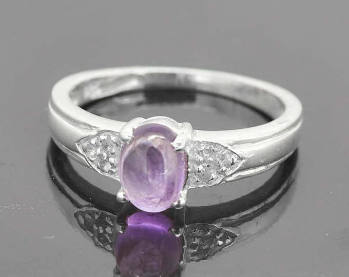 Amethyst Ring, 1 ct, Purple, Oval Cut, Birthstone Ring, February, Gemstone Ring, Sterling Silver Ring, Solitaire Ring, Statement Ring