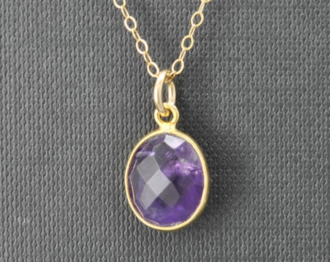Amethyst Necklace, 14k Gold Filled Chain, Bezel set Necklace, Gemstone Necklace, Amethyst pendant