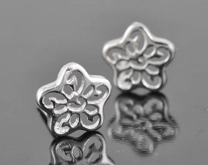 flower earring, sterling silver earring, stud earrings, eco friendly recycled silver