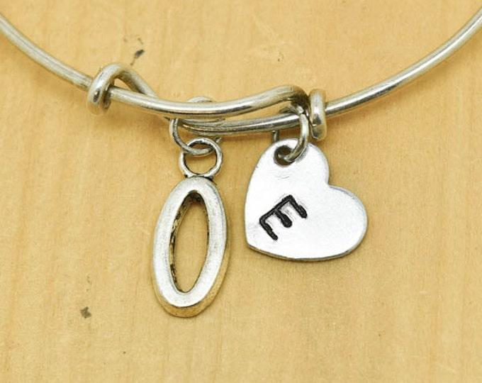 Number zero Bangle, Sterling Silver Bangle, 0 Bracelet, Bridesmaid Gift, Personalized Bracelet, Charm Bangle, Monogram,Initial Bracelet