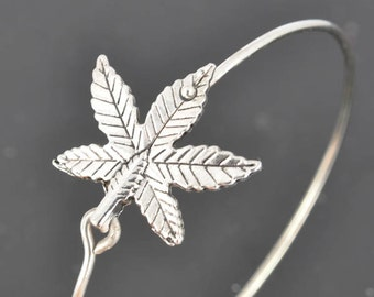 Marijuana Bangle, Sterling Silver Bangle, Marijuana Bracelet, Stackable Bangle, Bridesmaid Bangle, Bridesmaid jewelry, Bridal Bracelet
