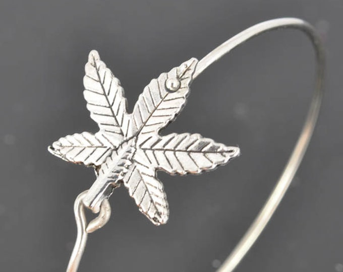 Marijuana Bangle, Sterling Silver Bangle, Marijuana Bracelet, Stackable Bangle, Bridesmaid Bangle, Bridesmaid jewelry, Bridal Bracelet