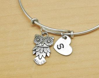 Owl Bangle, Sterling Silver Bangle, Owl Bracelet, Bridesmaid Gift, Personalized Bracelet, Charm Bangle, Monogram, Initial Bracelet