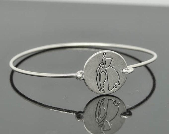 Angel Bangle, Guidance Angel for Peace,  Sterling Silver Bangle, Angel Bracelet,  Angel Jewelry, Sterling Silver Bracelet