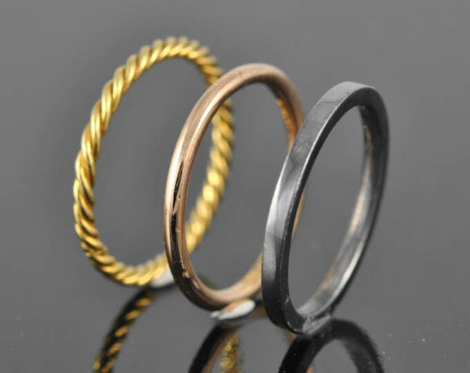 Stacking ring, sterling silver ring, twisted, square, round, gold plated, yellow, rose, gold