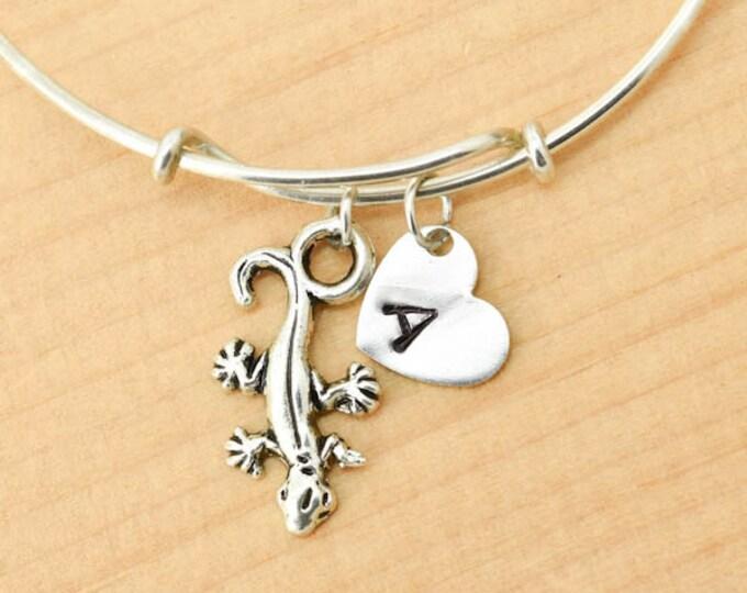 Lizard Bangle, Sterling Silver Bangle, Lizard Bracelet, Bridesmaid Gift, Personalized Bracelet, Charm Bangle, Monogram, Initial Bracelet