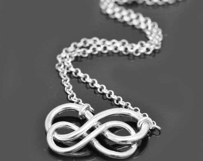 infinity necklace, Interlocking circle necklace, forever, sterling silver, necklace, gold plated, infinity, double circle