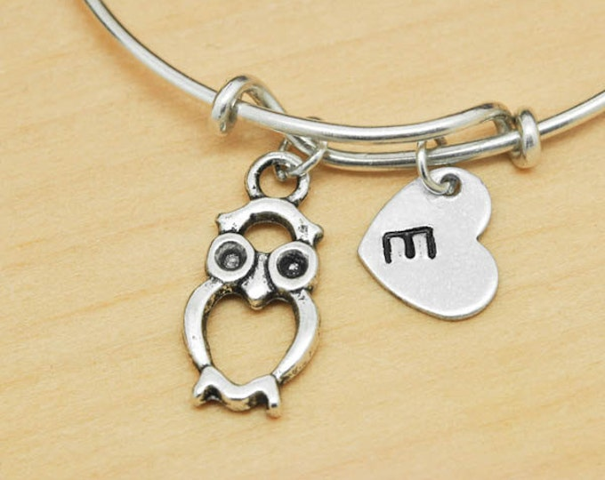 Owl Bangle, Sterling Silver Bangle, Owl Bracelet, Bridesmaid Gift, Personalized Bracelet, Charm Bangle, Monogram, Initial Bracelet