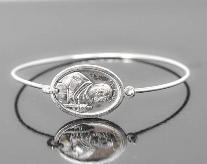 St Paul Bracelet Bangle, St Paul Jewelry, Catholic Jewelry, Sterling Silver Bangle Bracelet, Medal Bracelet bangle