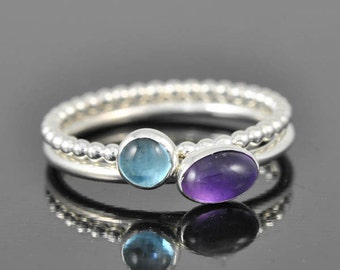 Amethyst ring, february, birthstone, ring, oval, gemstone, sterling silver, bezel set, stackable