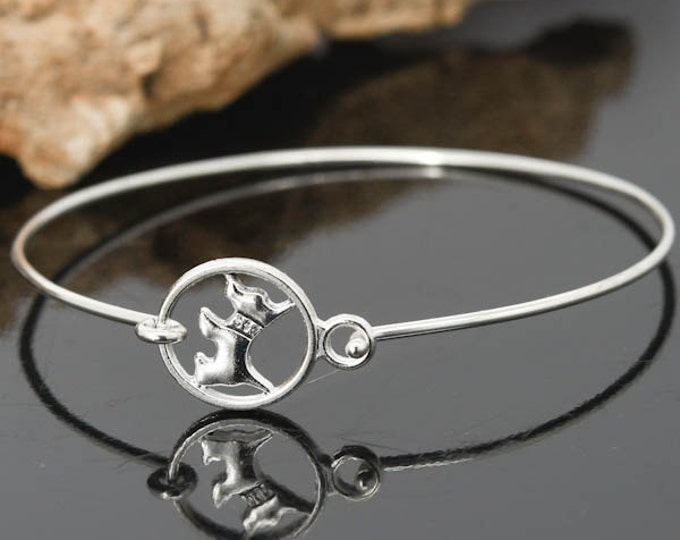 Dog Bangle, Sterling Silver Bangle, Dog Bracelet, Stackable Bangle, Charm Bangle, Bridesmaid Bangle, Bridesmaid jewelry, Bridal Bracelet