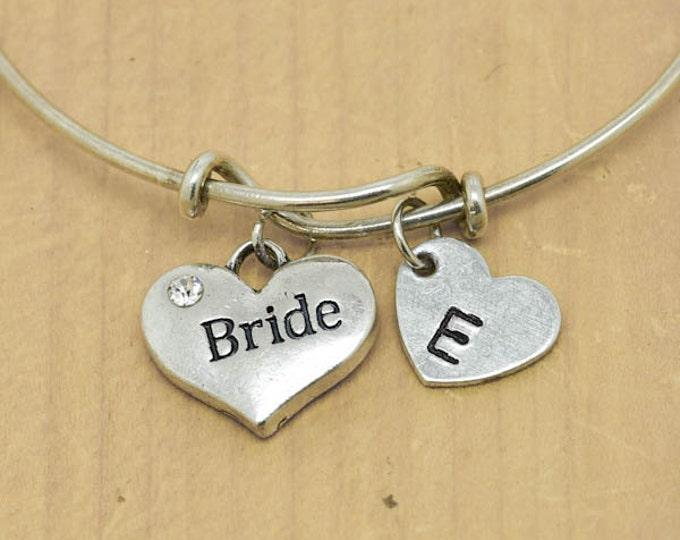 Bride Heart Bangle, Sterling Silver Bangle, Adjustable Bangle, Bridesmaid Gift, Initial Bangle, Personalized Bangle, Charm Bangle,Monogram