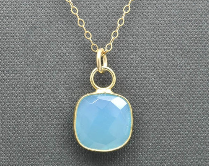 Blue Chalcedony Necklace, 14k Gold Filled Chain, Bezel set Necklace, Gemstone Necklace, Blue Chalcedony pendant