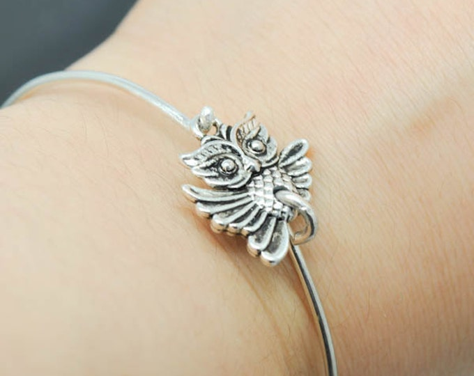 Owl Bangle, Sterling Silver Bangle, Owl Bracelet, Stackable Bangle, Charm Bangle, Bridesmaid Bangle, Bridesmaid jewelry, Bridal Bracelet