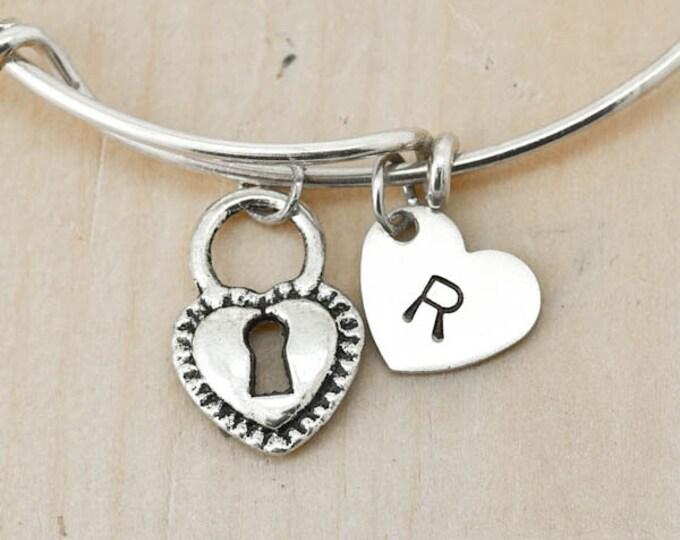 Heart Lock Bangle, Sterling Silver Bangle, Adjustable Bangle, Bridesmaid Gift, Initial Bangle, Personalized Bangle, Charm Bangle, Monogram