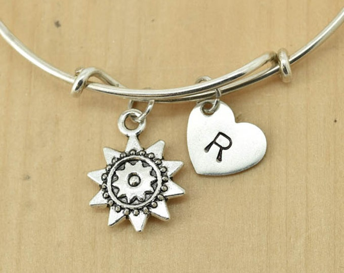 Sun Bangle, Sterling Silver Bangle, Sun Bracelet, Bridesmaid Gift, Personalized Bracelet, Charm Bangle, Initial Bracelet, Monogram