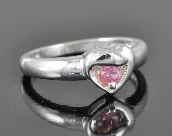 heart ring, gemstone heart ring, tourmaline ring, pink ring, sterling silver ring, silver ring, october birthstone