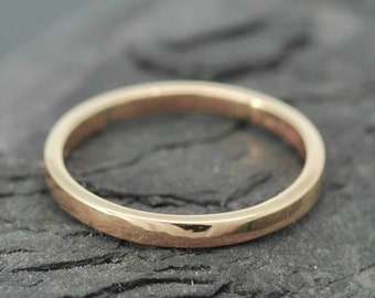 18k Rose Gold, 1.5mm x 1.5mm, Wedding Band, Square Band, Stacking Ring, Flat Band, Size up to 9