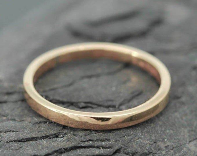 18k Rose Gold, 1.5mm x 1.5mm, Wedding Band, Square Band, Stacking Ring, Flat Band, Size up to 12