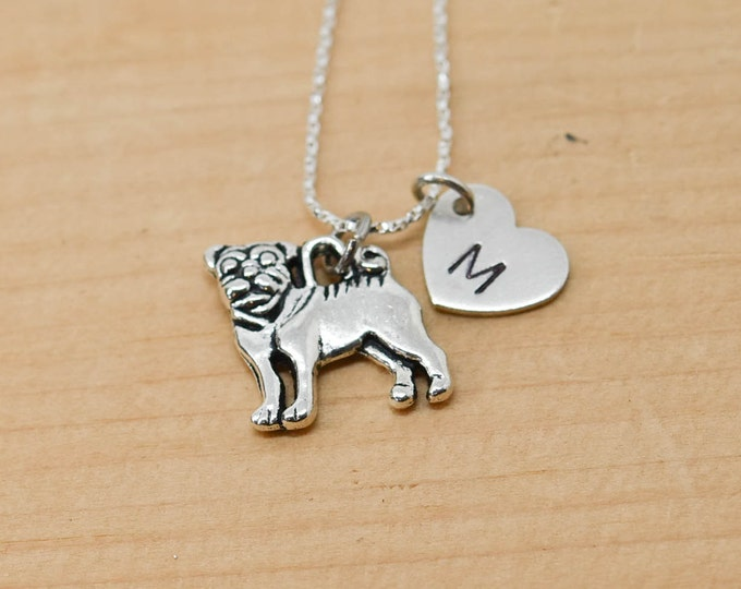 Bulldog Necklace, Dog Charm, Dog Pendant, Initial Necklace, Personalized Necklace, Sterling Silver Necklace, Charm Necklace, Bridesmaid Gift