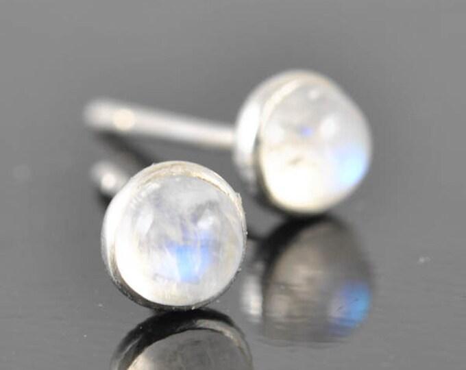 Moonstone earrings, stud earrings, june, birthstone, bezel, bridesmaid gift, bridal, sterling silver earrings, graduation
