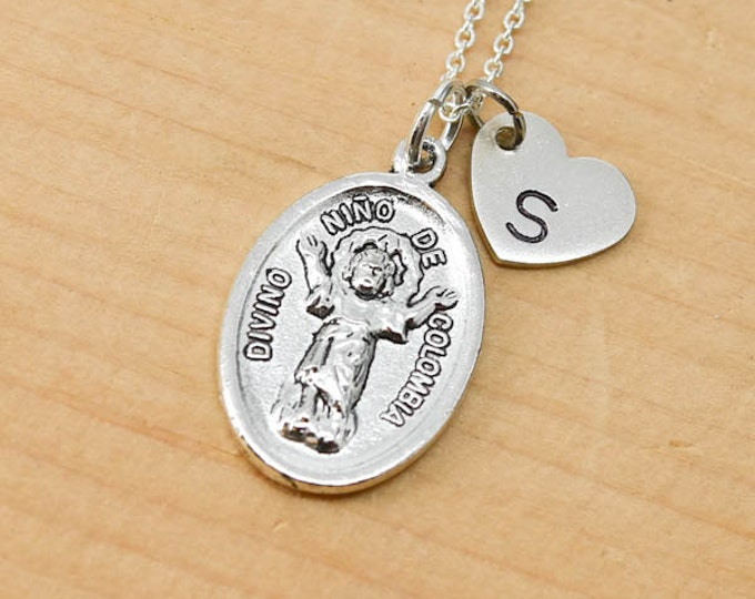Divino Nino De Colombia Necklace, Pendant, Initial Necklace, Personalized Necklace, Sterling Silver, Heart Charm Necklace, Bridesmaid Gift