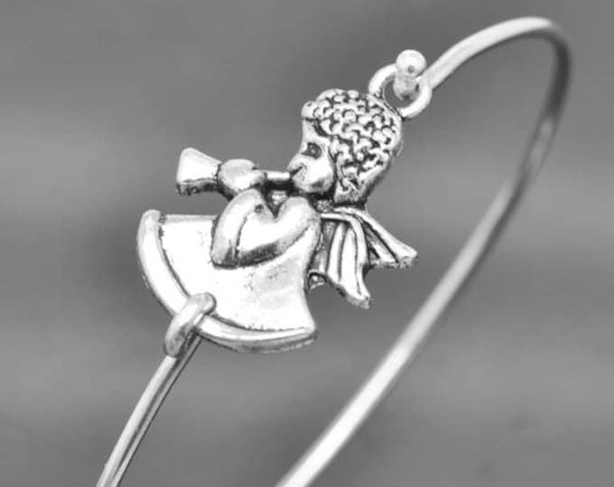 Angel Bangle, Sterling Silver Bangle, Angel Bracelet, Stackable Bangle, Charm Bangle, Bridesmaid Bangle, Bridesmaid jewelry, Bridal Bracelet