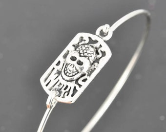 Skull Bangle, Sterling Silver Bangle, Skull Bracelet, Stackable Bangle, Charm Bangle, Bridesmaid Bangle, Bridesmaid jewelry, Bridal Bracelet