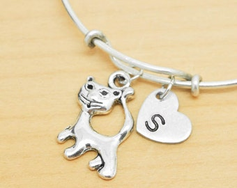 Cat Bangle, Sterling Silver Bangle, Cat Bracelet, Expandable Bangle, Personalized Bracelet, Charm Bangle, Monogram, Initial Bracelet