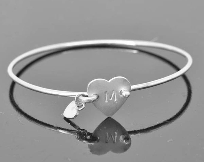 Initial Bangle, Initial Jewelry, Initial Bracelet, Sterling Silver Bangle, Sterling Silver Bracelet, heart bangle, heart bracelet