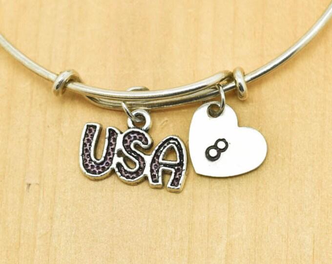 USA Bangle, Sterling Silver Bangle, USA Bracelet, Bridesmaid Gift, Personalized Bracelet, Charm Bangle, Monogram, Initial Bracelet