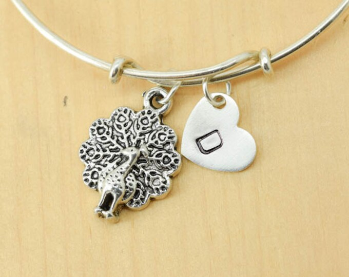 Peacock Bangle, Sterling Silver Bangle, Peacock Bracelet, Bridesmaid Gift, Personalized Bracelet, Charm, Initial Bracelet, Bridesmaid Gift