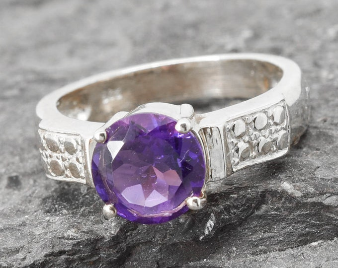 Amethyst Ring, 1.8 ct, Birthstone Ring, February, Gemstone Ring, Sterling Silver Ring, Solitaire Ring, Statement Ring