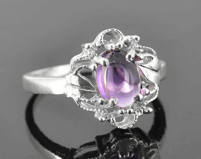 Amethyst Ring, 2 ct, Purple, Oval Cut, Birthstone Ring, February, Gemstone Ring, Sterling Silver Ring, Solitaire Ring, Statement Ring