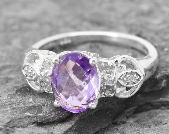 Amethyst Ring, 1.75 ct, Birthstone Ring, February, Gemstone Ring, Sterling Silver Ring, Solitaire Ring, Statement Ring