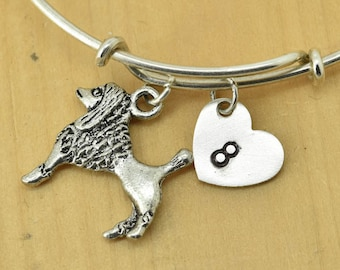 Poodle Bangle, Sterling Silver Bangle, Poodle Bracelet, Bridesmaid Gift, Personalized Bracelet, Charm Bangle, Initial Bracelet, Monogram